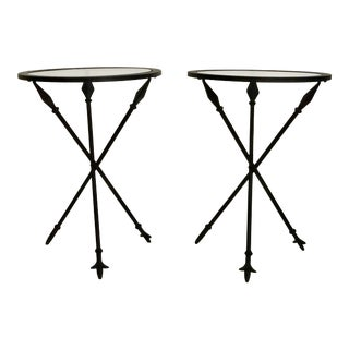 Pair of Petite Neoclassical Iron Side Tables For Sale