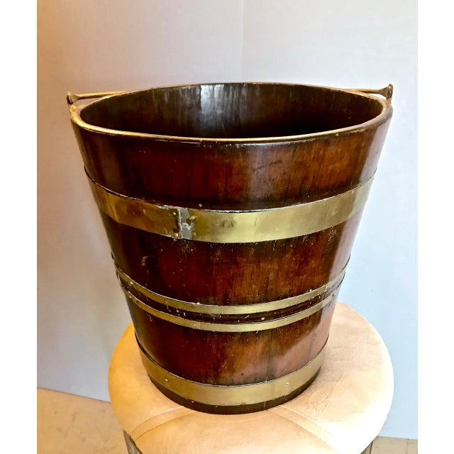 19th C. English Mahogany Brass-Bound Peat Bucket For Sale - Image 4 of 6