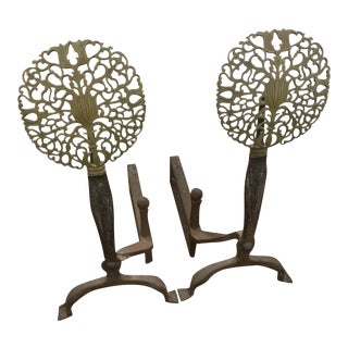 Early 20th Century English Iron and Bronze Andirons - a Pair For Sale
