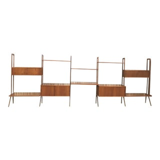 Danish Modern Kurt Ostervig Teak Free Standing Wall Unit For Sale