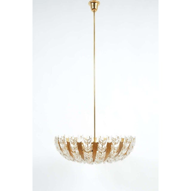 Hollywood Regency Palwa Large Gold Brass and Glass Chandelier Lamp, 1960 For Sale - Image 3 of 10