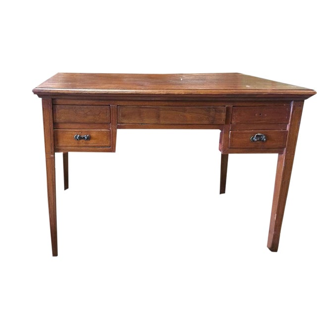 Antique Farmhouse Chic Indo British Colonial Study Desk Console Table - Antique Farmhouse Chic Indo British Colonial Study Desk Console