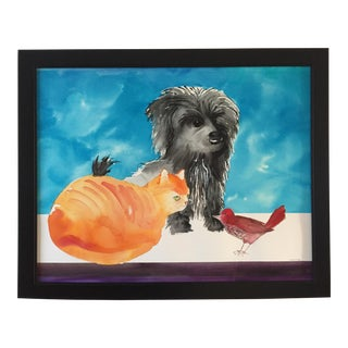 "Large ""Who Invited You?"" Cairn Dog and Ginger Cat Painting For Sale"
