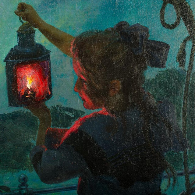 "Canvas Early 20th Century ""Girl with Lantern"" Figurative Oil Painting by Otto Toaspern For Sale - Image 7 of 11"