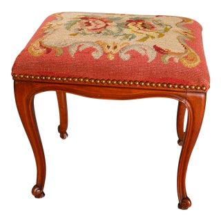 Antique French Louis XVI Style Carved Walnut & Needlepoint Foot Stool circa 1900 For Sale
