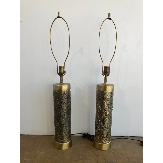 Metal Mid Century Westwood Brass Floral Table Lamps For Sale - Image 7 of 7