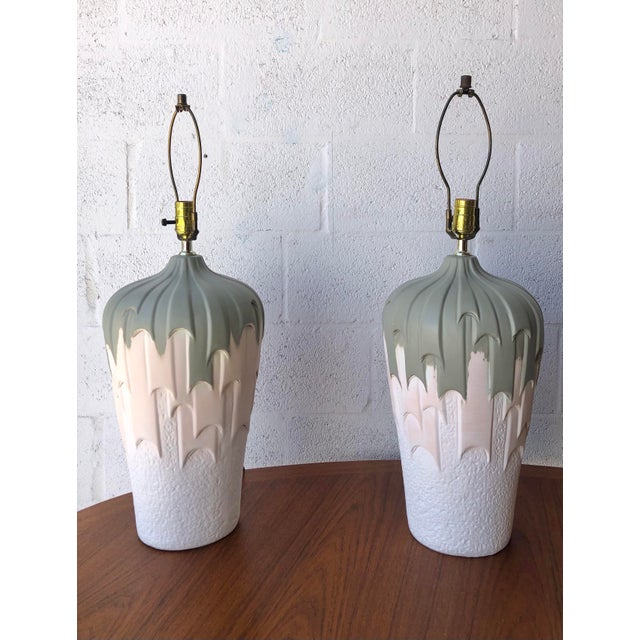Vintage 1980s Harris Carved Pottery Table Lamps- a Pair For Sale In Miami - Image 6 of 11