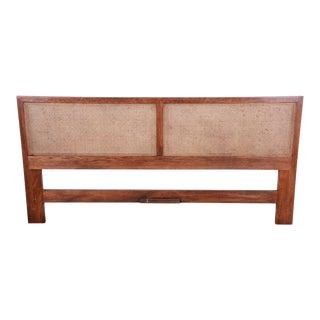 Henredon Mid-Century Modern Oak and Cane King Size Headboard For Sale