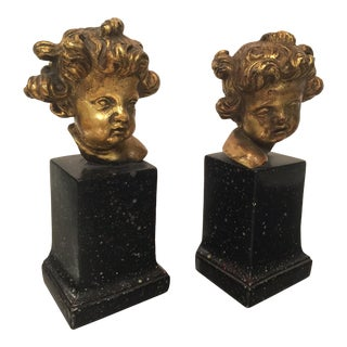 Vintage Borghese Cherub Putti Gilt Bookends - a Pair For Sale