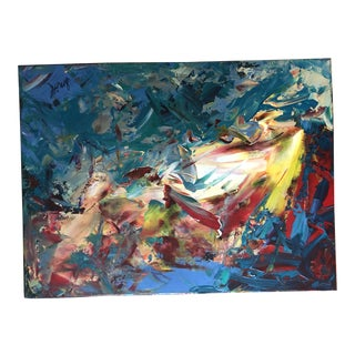 Final Markdown! Abstract Expressionism Original Acrylic Painting of Garden of Fire For Sale