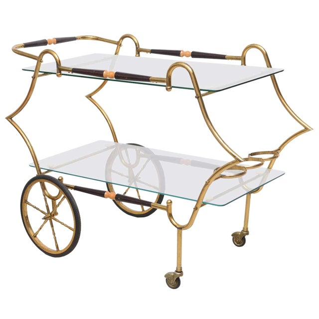 1950s Italian Brass and Glass Trolley Server For Sale