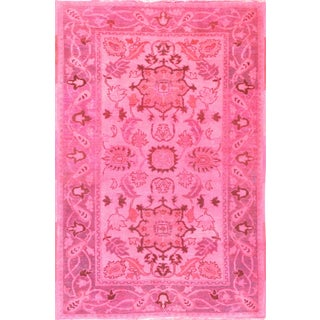 Overdyed Pink Farahan Rug - 4' X 6' For Sale