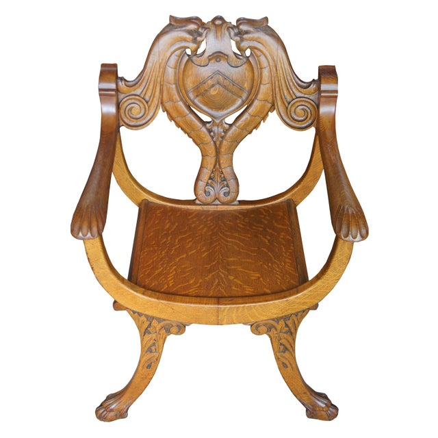 Late 19th Century Late 19th Century Antique Victorian Renaissance Revival Oak Curule Seat Chairs- Set of 5 For Sale - Image 5 of 13