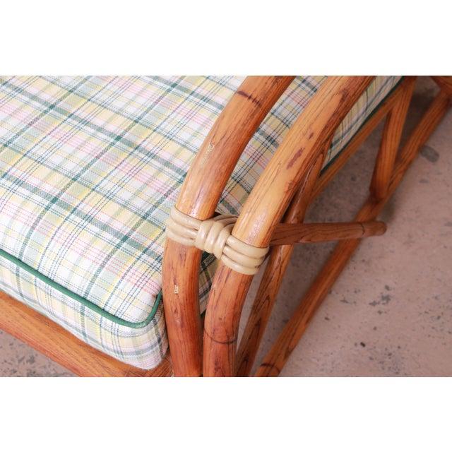 Green Heywood Wakefield Hollywood Regency Mid-Century Modern Rattan Sofa For Sale - Image 8 of 13