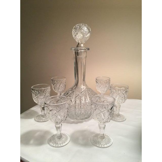 Vintage Pressed Glass Decanter With Goblets Wine Set For Sale - Image 12 of 12