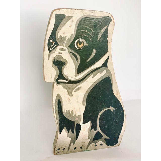 Circa 1900's Vintage Folk Art Hand Painted French Bulldog Statuette For Sale - Image 11 of 11