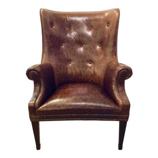 Hickory Chair Transitional Issac Leather Wingback Chair For Sale
