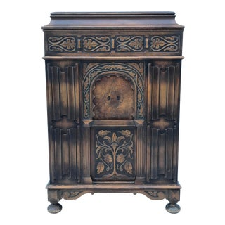 1920's Art Nouveau Carved Wood Record Cabinet For Sale