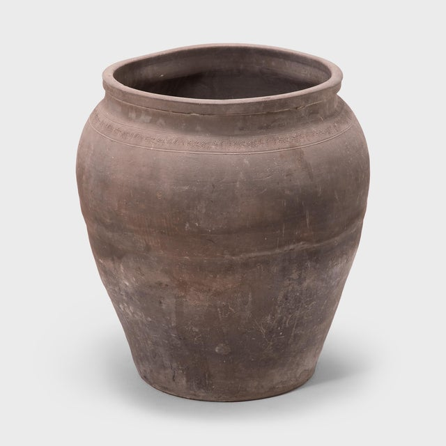 Asian Tapered Terracotta Storage Jar For Sale - Image 3 of 5