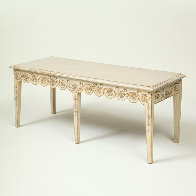 Colefax & Fowler Long Ivory-Painted Hall Bench For Sale - Image 10 of 10