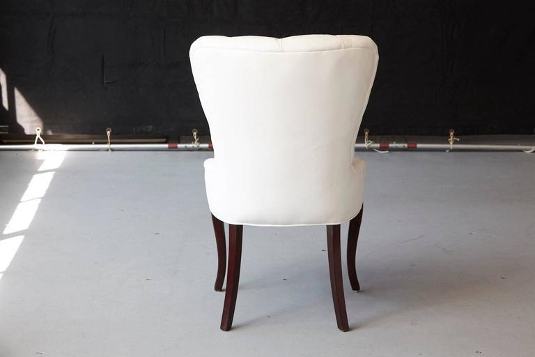 White Glove Leather Tufted Boudoir Chair By Barbara Barry For Baker   Image  5 Of 10