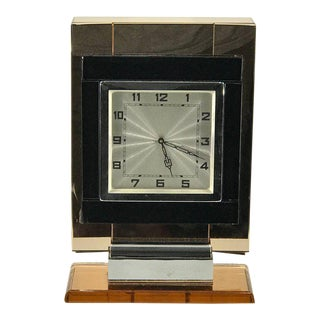 "French Art Deco Chrome and ""Coral"" Mirrored Table Clock For Sale"