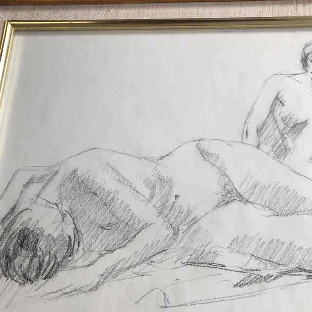 Expressionism Original Vintage Double Female Nude Charcoal Study Drawing Signed For Sale - Image 3 of 5