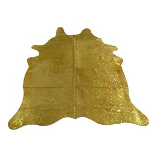 Gambrell Renard Yellow Metallic Cowhide Rug - 6' x 7'