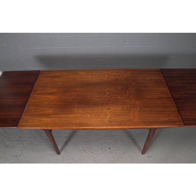 Rosewood Danish Modern Rosewood Extension Dining Table For Sale - Image 7 of 11