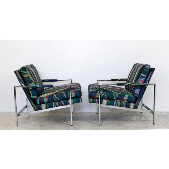 Mid-Century Modern 1970s Mid Century Modern Milo Baughman Flatbar Lounge Chairs - a Pair For Sale - Image 3 of 9