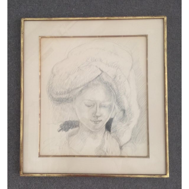 An original pencil drawing of a young woman posing wearing a beautiful soft turban. This Romantic and beautifully...