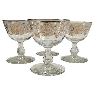 Mid-Century Gilt Champagne Coupes - Set of 4 For Sale