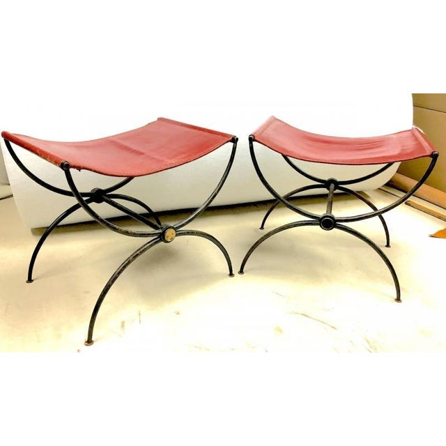 """Rene Prou Pair of """"X"""" Stools in Wrought Iron and Red Hermes Color Leather For Sale - Image 6 of 6"""