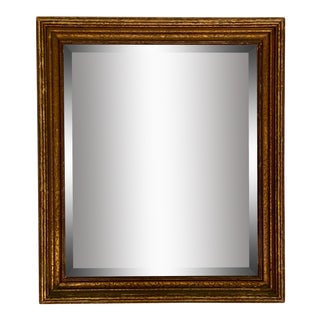 Antique Distressed Wood Frame and Beveled Mirror For Sale
