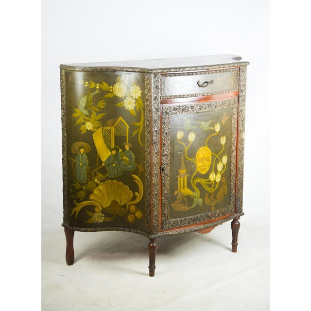 Chinoiserie 20th C. Chinoiserie Carved Mahogany Console Cabinet For Sale - Image 3 of 13