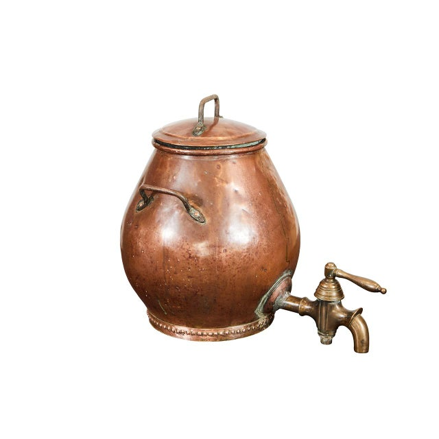 Brass Hammered Copper Dutch Samovar For Sale - Image 7 of 7