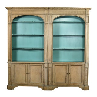 French Style Cerused Bookcases With Turquoise Interior by Baker Furniture For Sale
