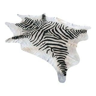 Classic Zebra Print Cowhide Rug - 6′ × 7′ For Sale