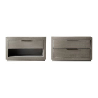 Faux Shagreen Nightstands - A Pair For Sale