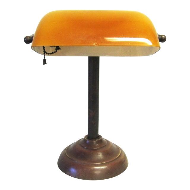 Vintage Amber Glass Banker's Copper Table Lamp - Image 1 of 5