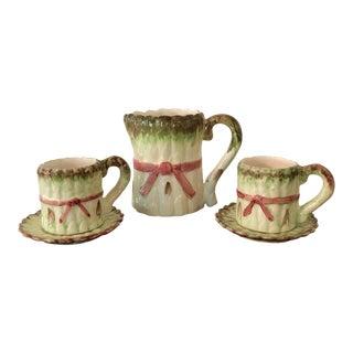 Seymour Mann Asparagus Pattern Demitasse & Creamer Dishes - Set of 3
