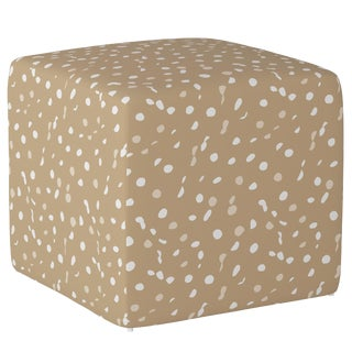 Cube Ottoman in Camel Dot by Angela Chrusciaki Blehm for Chairish For Sale
