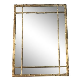Vintage Faux Bamboo Gold Wall Mirror For Sale