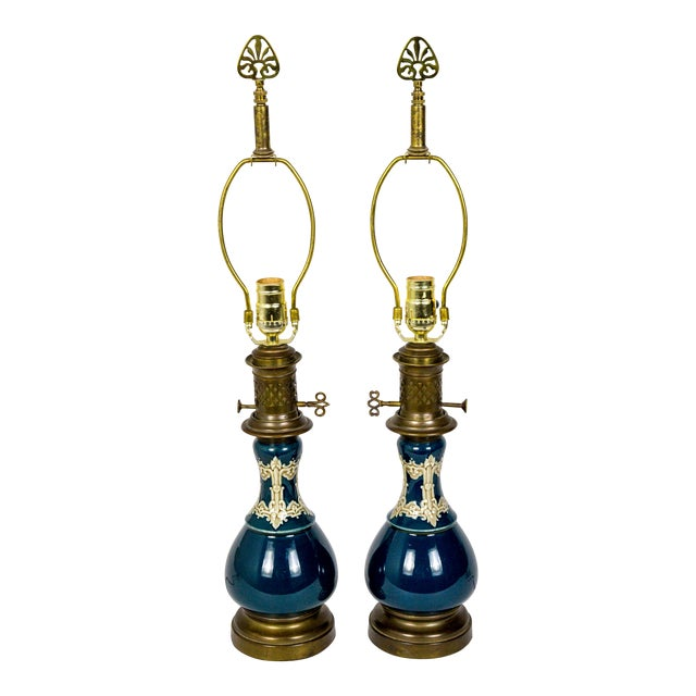19th C. Dark Turquoise Ceramic Converted Kerosine Lamps - a Pair For Sale
