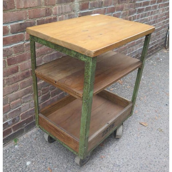 Industrial Vintage English Metal and Wood Rolling Cart For Sale - Image 3 of 5