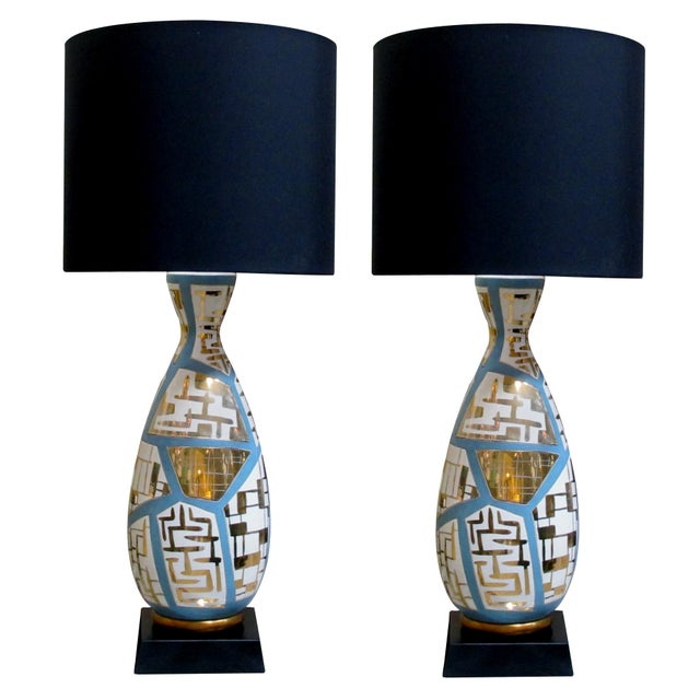 Black Italian Mid-Century Bottle-Form Lamps With Gilt Geometric Decoration - a Pair For Sale - Image 8 of 8