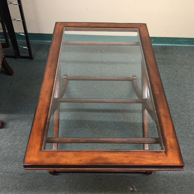 Traditional Beveled Glass + Wood Cocktail Table - Image 6 of 7