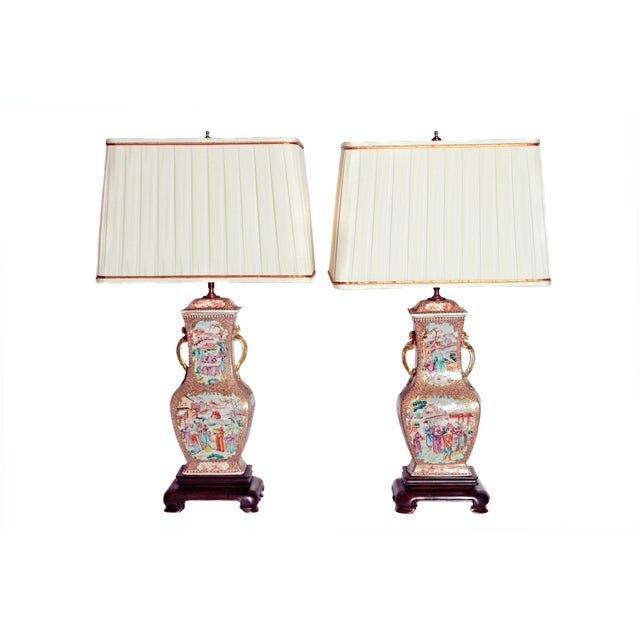 Pair of Early 19th Century Chinese Export Rose Mandarin Porcelain Jars as Lamps For Sale - Image 13 of 13
