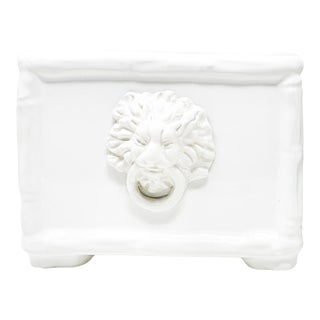 Lion Small Cachepot in Lacquer White For Sale