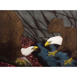"Neil Korpi ""Rival Arrival"" Bald Eagles Hand Signed Etching Artwork For Sale"